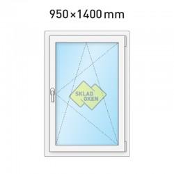 Plastové okno jednokřídlé 950 x 1400 mm - pravé