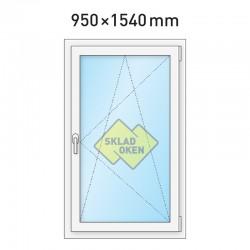 Plastové okno jednokřídlé 950x1540 mm (95x154 cm) - otvíravo-sklopné pravé