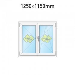 Plastové okno dvoukřídlé se štulpem 1250 x 1150 mm