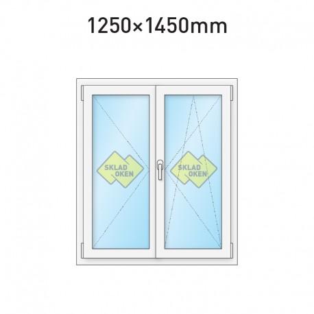 Plastové okno dvoukřídlé se štulpem 1250 x 1450 mm