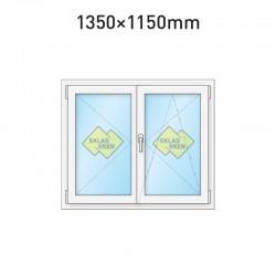 Plastové okno dvoukřídlé se štulpem 1350 x 1150 mm
