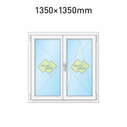 Plastové okno dvoukřídlé se štulpem 1350 x 1350 mm