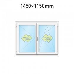 Plastové okno dvoukřídlé se štulpem 1450 x 1150 mm