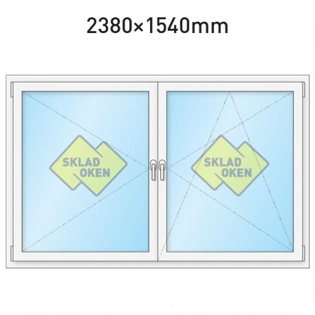 Plastové okno dvoukřídlé se sloupkem 2380 x 1540 mm