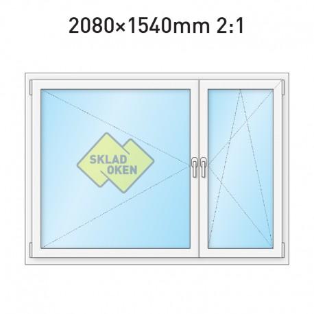 Plastové okno dvoukřídlé se sloupkem 208x154 cm (2080x1540 mm), bílé, PRAVÉ - dělení 2:1