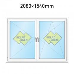 Plastové okno dvoukřídlé se sloupkem 2080 x 1540 mm