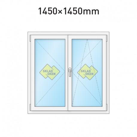 Plastové okno dvoukřídlé se štulpem 1450 x 1450 mm