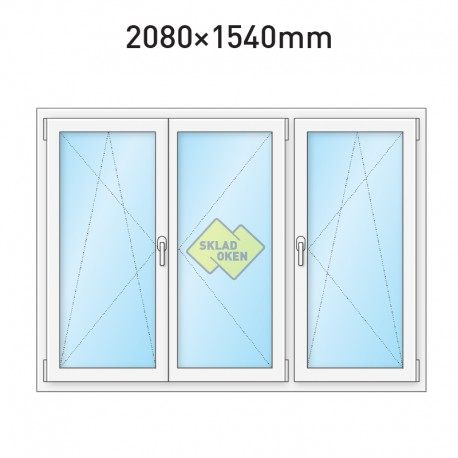 Plastové okno trojkřídlé se štulpem a sloupkem 2080 x 1540 mm