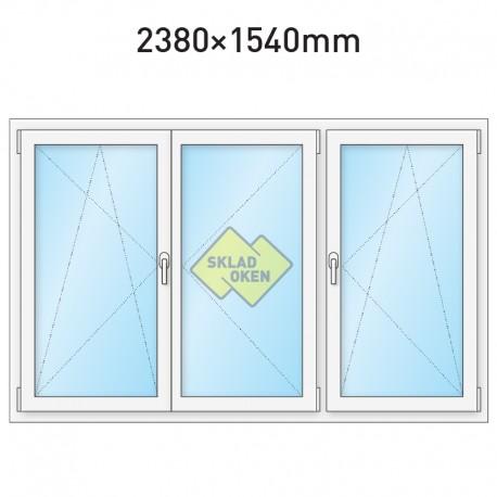 Plastové okno trojkřídlé se štulpem a sloupkem 2380 x 1540 mm