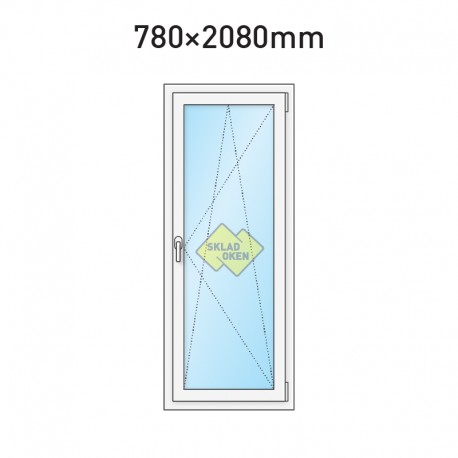 Balkonové dveře jednokřídlé 780 x 2080 mm - pravé