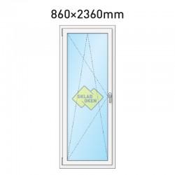 Plastové balkonové dveře jednokřídlé 860 x 2360 mm - levé
