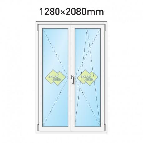 Plastové balkonové dveře dvoukřídlé se štulpem 1280 x 2080 mm