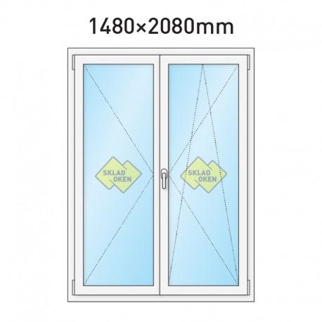 Plastové balkonové dveře dvoukřídlé se štulpem 1480 x 2080 mm