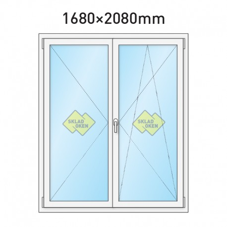 Plastové balkonové dveře dvoukřídlé se štulpem 1680 x 2080 mm
