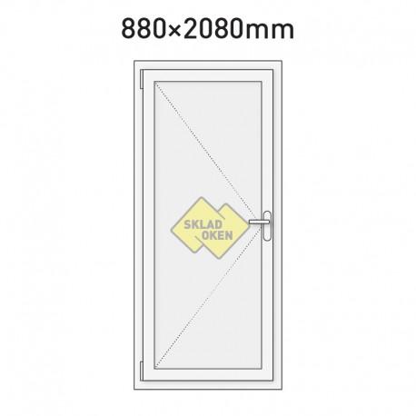 Plastové vchodové dveře vedlejší plné 880 x 2080 mm - levé