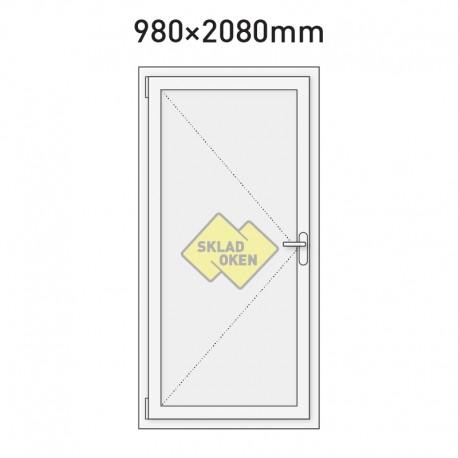 Plastové vchodové dveře vedlejší plné 980 x 2080 mm - levé