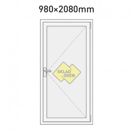 Plastové vchodové dveře vedlejší plné 980 x 2080 mm - pravé