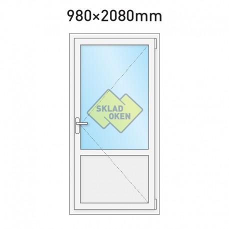 Plastové vchodové dveře vedlejší dělené 980 x 2080 mm - pravé