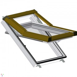 Plastové střešní okno SKYLIGHT, 780x980 mm (78x98 cm) - bílé, hnědé oplechování
