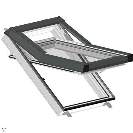 Plastové střešní okno SKYLIGHT, 780x890 mm (78x89 cm) - bílé, šedé oplechování
